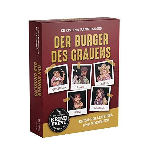 Der Burger des Grauens. Krimidinner-Rollenspiel und Kochbuch. Für 6 Spieler ab 12 Jahren.: Das perfekte Krimi-Event für zu Hause. 72 Anweisungskarten, 6 Einladungsschreiben und Tischkarten