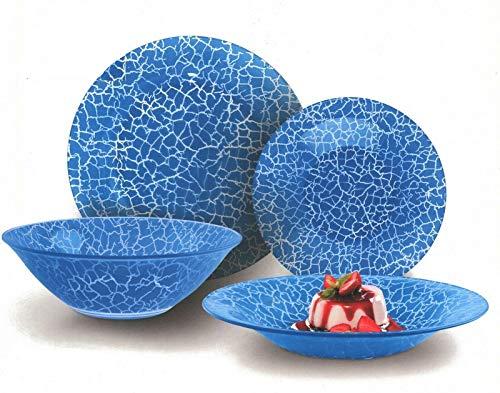 CoK Juego de vajilla de cristal azul de 19 piezas hecho de vidrio templado con diseño de grietas