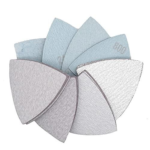 25 Pcs 90 * 90 * 90mm Sanding Sheets Triangle Sandpaper Hook & Loop 60 to 800 Grits Abrasive Sanding Disc