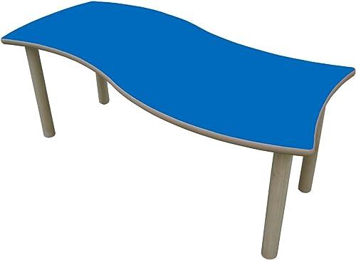 Mobeduc Kindertisch, Onda, rechteckig Holz 120 x 6cm  , Größe 2 Haya y Blau Oscuro