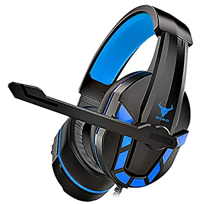 Kikc PS-4 Gaming Headset & PS4 Headset & Xbox one Headset,3.5mm Gaming Headphone with Microphone & Volume Control for Nintendo Switch,PC,Laptop,PS3,Video Game(Black+Blue) by Kikc