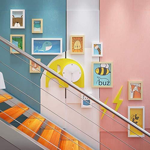 WTT Conjunto de Marco de Imagen, escaleras de Dibujos Animados, decoración de Arte de Pared de Madera Maciza, combinación de Marco de Foto para niños, niñas, Clase de Preescolar, Blanco