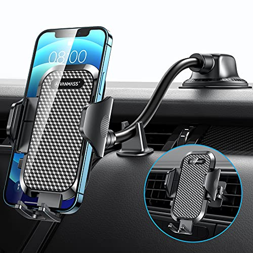 VANMASS Car Phone Holder, [2021 Newest Shockproof 4.0] Universal Car Phone Mount [Patent & Safety Certs] Long Arm Deep & Strongest Suction Cup Phone Holder for Car Dashboard Windscreen Vent All Phone