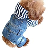 SILD Pet Denim Jumpsuit Dog Jeans Hoodies Cool Blue Coat Medium Small Dogs Classic Jacket Puppy Blue Vintage Washed Vests (XXL)