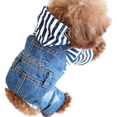 SILD Pet Denim Jumpsuit Dog Jeans Hoodies Cool Blue Coat Medium Small Dogs Classic Jacket Puppy Blue Vintage Washed Vests (S)