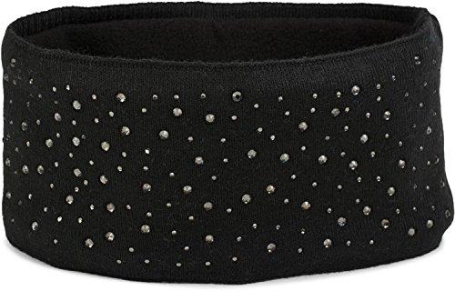 styleBREAKER Damen Feinstrick Stirnband mit Strass Nieten Applikation und weichem Fleece Innenfutter, Haarband, Headband 04026003, Farbe:Schwarz
