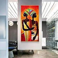 """キャンバスプリント抽象的なアフリカの女性の絵画絵壁アート不織布ポスターリビングルーム寝室の家の装飾27.5""""x55.1""""(70x140cm)フレームレス"""