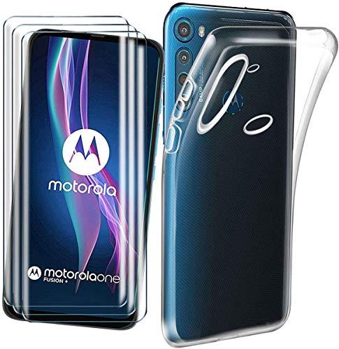 Funda para Motorola One Fusion Plus/One Fusion+ + [3 Unidades] Cristal Templado Protector de Pantalla, Ultra Fina Silicona Transparente TPU Carcasa Protector Airbag Anti-Choque Anti-arañazos Caso