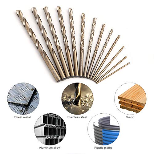 COMOWARE Cobalt Drill Bit Set- 13Pcs M35 High Speed Steel, Twist Jobber Length for Metal, Cast Iron and Wood Plastic with Metal Indexed Storage Case, 1/16