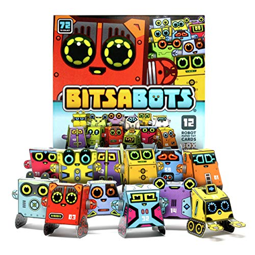 Box Buddies Bitsabots - Pack of 12 Tiny Robot Paper Toy Cards - Fun Paper Craft for Kids, Space Party Favors