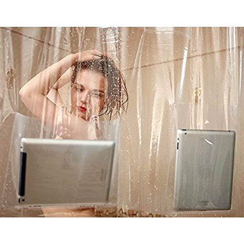 barsku Kunststoff-Duschvorhang mit Tasche, durchsichtiger Duschvorhang, hält Ihr iPad, Handy, Tablet oder Babymonitor. Komplett wasserdicht, 180 x 180 cm