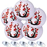 5 Packs 12 Inch Chinese Japanese Paper Lantern, Red Cherry Flowers Paper Lanterns White Round Chinese Japanese Paper Lamp 5 LED Lantern Lights for Home Wedding Spring Festival Party Decor