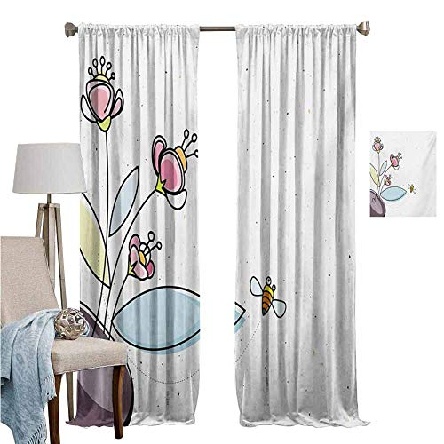Blackout Curtains for Living Room- Room Darkening Wide Curtains Flower Pot with Blossoms Leaves and Bees Flying Around Summer Season Inspirational Multicolor Room Darkened Set of 2 Panels W120'x L107'