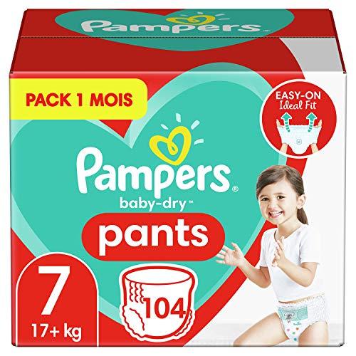 Pampers Couches-Culottes Baby-Dry Pants Taille 7 (+17kg) Maintien 360° pour Éviter les Fuites, Faciles à Changer, 104 Couches-Culottes (Pack 1 Mois)