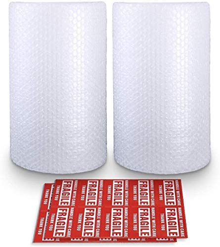 """Bubble Cushioning Wrap Roll 2 Pack 3/16"""" Air Bubble 12 Inch x 74 Feet Total, Perforated Every 12 Inch with 30pcs Fragile Stickers Packing Supplies for Heavy-Duty Moving Shipping"""