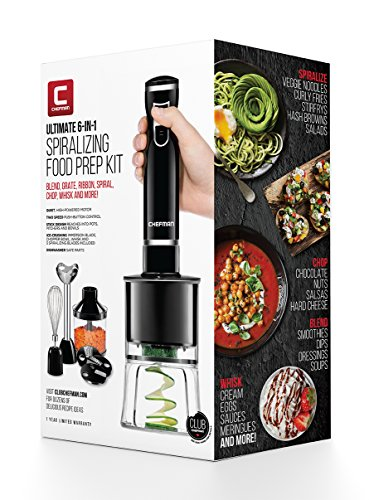 Chefman Electric Spiralizer & Immersion Blender/Vegetable Slicer 6-IN-1 Food Prep Combo Kit, Includes 3 Spiralizing Blade Attachments, Zoodle Maker; Grate, Ribbon, Spiral, Blend, Chop, and Puree,Black