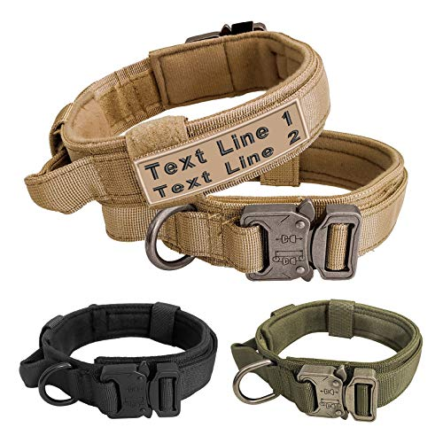 Military Dog Collar, Adjustable Tactical Dog Collars with Name Embroidered, Heavy Duty Metal Buckle Collar with Control Handle for Dog Training,1.5' Width