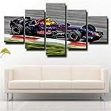 5 Piezas Cuadro sobre Lienzo De Fotos Pista de carreras de Fórmula 1 Red Bull F1 Lienzo Impresión Cuadros Decoracion Salon Grandes Cuadros para Dormitorios Modernos Mural Pared Listo para Colgar
