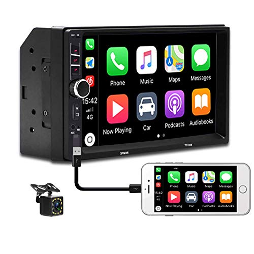 Car Radio in-Dash Car Stereo Audio Double Din with Bluetooth 7 Inch Touch Screen MP5 Multimedia Player Support D-Play Mirror Link FM/USB/TF/Aux-in/Remote Control with Backup Camera