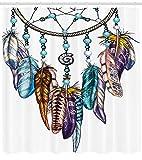 ABAKUHAUS Feder Duschvorhang, Aufwändiger Dreamcatcher, mit 12 Ringe Set Wasserdicht Stielvoll Modern Farbfest & Schimmel Resistent, 175x220 cm, Mehrfarbig