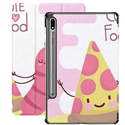 Funda Galaxy Tablet S7 Plus de 12,4 Pulgadas 2020 con Soporte para bolígrafo S, menú de Salchicha de Pizza, Personaje de Dibujos Animados, Comida, Soporte Delgado, Funda Protectora Tipo Folio para Sa