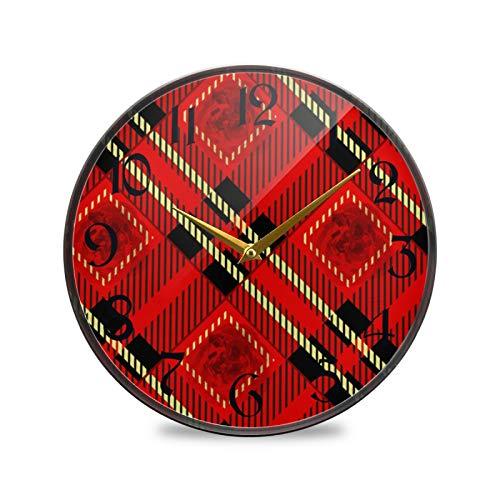 ART VVIES Reloj de Pared Redondo de 12 Pulgadas Sin tictac Silencioso Funciona con Pilas Oficina Cocina Dormitorio Decoraciones para el hogar-Rojo, Negro y Dorado, Rosa a Cuadros