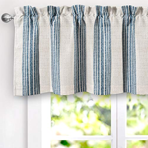 DriftAway Chris Vertical Striped Pattern Linen Blend Thermal Insulated Blackout Window Curtain Valance Rod Pocket 2 Layers Single 52 Inch by 18 Inch Plus 2 Inch Header Navy
