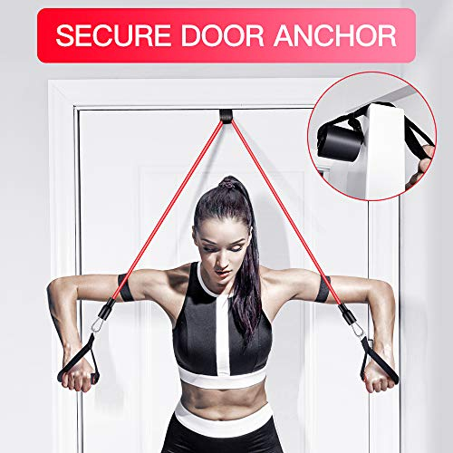 【2020 Newest】 Resistance Bands Set Home Fitness 5 Stackable Exercise Bands Door Anchor 2 Handles 2 Legs Ankle Straps Waterproof Carry Bag for Resistance Training Physi Cal Therapy 2