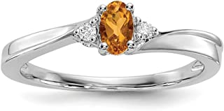 925 Sterling Silver Yellow Citrine Birthstone Band Ring November Set Fine Jewelry For Women Gift Set