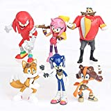 LJXGZY 6 unids/Set Sonic The Hedgehog Figura de acción Anime Boy Oyuncak Modelo de Juego Anime Fans Regalo Figura colección decoración Modelo Regalo de cumpleaños Estatua