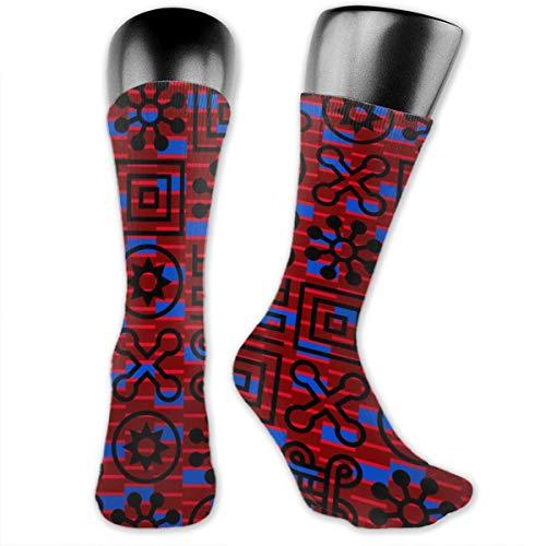Nahtlose afrikanische Adinkra-Muster, lustige verrückte Crew-Socken, coole Unisex-Sportsocken, 39,9 cm lang, personalisierte Geschenksocken