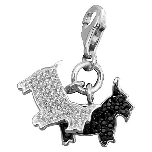 Thomas Sabo Hunde Charm Anhänger Silber mit weißen/schwarzen Zirkonia 1019-051-18