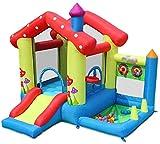 Castillo Hinchable pequeño e Inflable para niños con Soporte de Baloncesto Tobogán Piscina de Bolas Marinas y área de Salto Grande (Incluyendo soplador y Bolsa de Agua) Uptodate