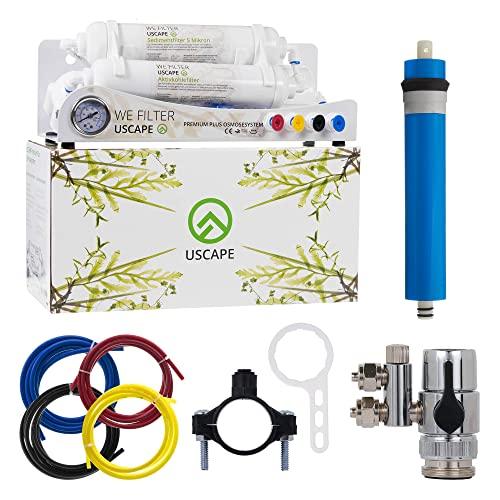 USCAPE Osmoseanlage Premium Plus 100GPD 380l/Tag - Mehrstufige Umkehrosmose-Anlage für Aquarium oder Haushalt zur Herstellung von Osmosewasser