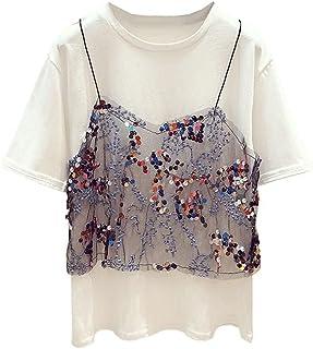 Wxcgbdx Womens T Shirts, Summer White Short-sleeved O-neck Blouse Fake Two-piece Patchwork Sequined T-shirt (Size : Medium)
