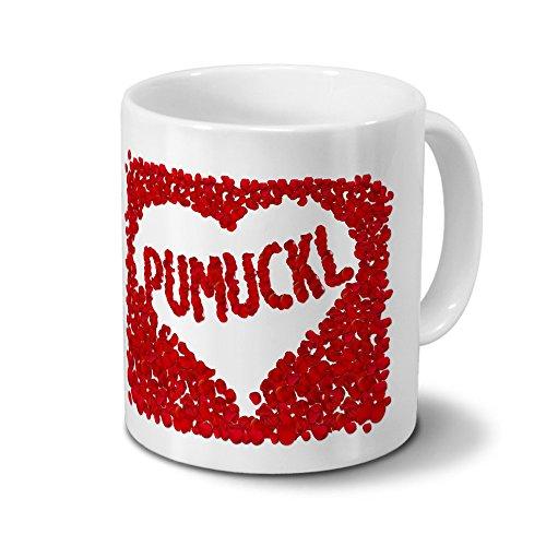 Tasse mit Namen Pumuckl - Motiv Rosenherz - Namenstasse, Kaffeebecher, Mug, Becher, Kaffeetasse - Farbe Weiß