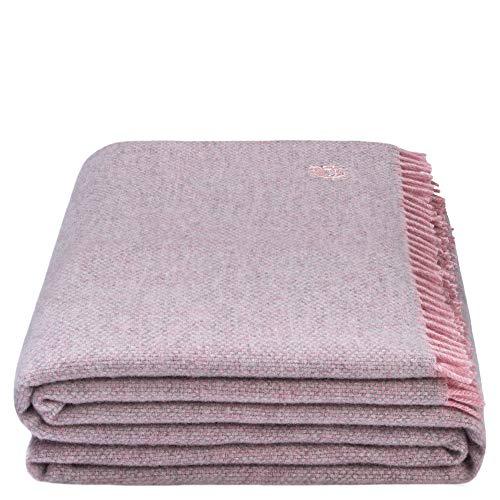 Must Relax-Decke – Wolldecke – hochwertiges Plaid aus reiner Schurwolle mit Fransen – 130x190 cm – 310 rose – von 'zoeppritz since 1828'