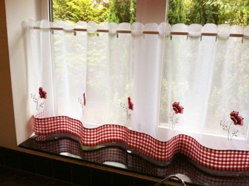 Tony's Textiles Panneau de café Coquelicots Blanc 150 x 61 cm