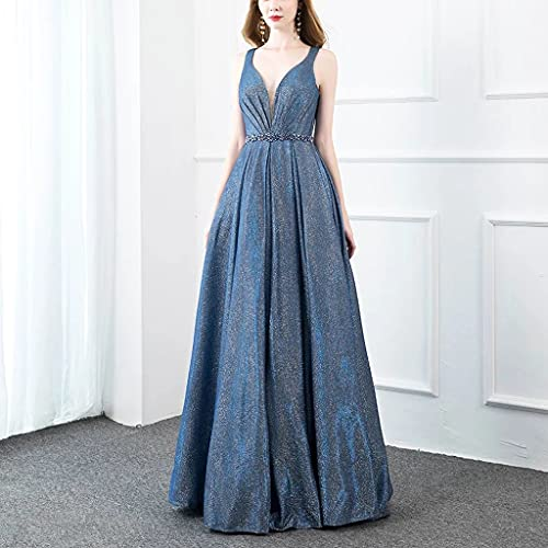 CHYSP. Dress Long Blue Prom Dresses Elegante V Collo a V Bling Tessuto Formale Ball Gown Party senza maniche (Color : Blue, Size : 6)