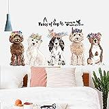 Schöne Hundeprodukte Wallpaper Cartoon Tier Wandbild Skizze Hand gezeichnete Welpe Spielzeug Wandaufkleber für Kinderzimmer Pet Shop Dekor