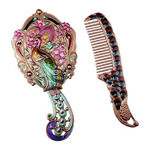 Frcoloror - Specchio da mano, stile vintage, con pettine, specchio cosmetico antico, spazzola per capelli, da viaggio, per donne, ragazze (colore casuale)