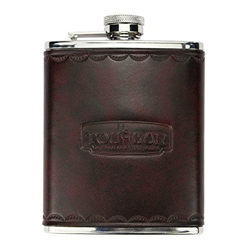 TOURBON Caza Botella De Vino De Acero Inoxidable Frascos De La Cadera para Los Hombres para Los Tiradores del Juego (6OZ Cuero Vintage)