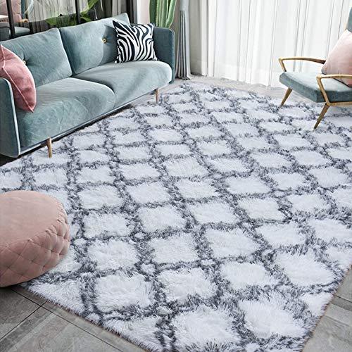 Homore Fluffy Bedroom Rug Super Soft Velvet Shaggy Plush Carpet 3x5 Feet, Shag Moroccan Area Rugs for Kids Girls Living Room Bed Home Decor, White