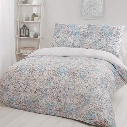 Sleepdown Juego edredón Reversible de 135 cm x 200 cm y 1 Funda de Almohada de 80 cm x 80 cm, Microfibra, Verde Azulado, 135 x 200cm + 1 x 80 x 80cm