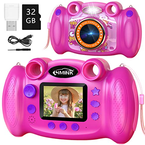 L LIMINK Kids Camera for Girls Digital 12MP 1080P HD Video 32GB SD Card Camera Toy Toddler for Girls Boys 3-12 Years Best Christmas & Birthday Gift(Pink )