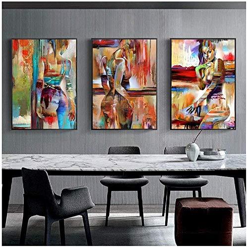 Surfilter Print auf Leinwand Sexy Figur Frauen Wandkunst Abstrakte Drucke und Poster Bilder für Wohnzimmer Schlafzimmer Mädchen Dekor 11.8& rdquo; x15.7ABC 22 rdquo; (30x40cm) x3 No Frame