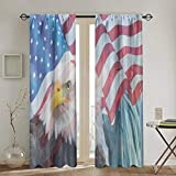 JinSPef Blackout Curtain Status of Liberty Eagle American Flag Blackout Curtains Panels fo...