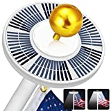 Solar Flag Pole Light 128LED, 640 LumensSolar Powered Flagpole Lights for Most 15 to 25Ft Flag Poles100% Flag Coverage,2 Modes2500MAHDownlight Last Up to 10 Hrs, IP67 Waterproof Auto On/Off