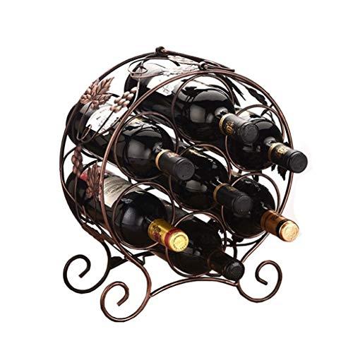 HYYDP Freestanding Wine Rack Wine Bottle 7 Bottles Wine Rack Vintage Style Elegant Stand Iron Metal Cabinet Bottle Holder Storage Stand Organiser Countertop Dispaly Shelf for Home in Bronze 34x15x35cm