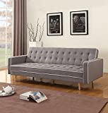 Divano Roma Furniture Mid-Century Modern Two Tone Vintage Linen Sleeper Futon Sofa, Grey, Beige, Red (Light Grey)